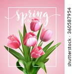 spring text with  tulip flower. ... | Shutterstock .eps vector #360587954
