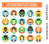 20 avatar flat icons. male and...