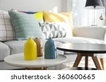 colorful pillows on a sofa with ... | Shutterstock . vector #360600665