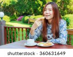 asia girl teenage and breakfast ... | Shutterstock . vector #360631649