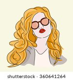 fashion woman in red lip and... | Shutterstock .eps vector #360641264