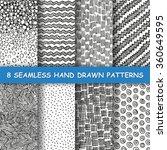 set of eight seamless hand... | Shutterstock .eps vector #360649595
