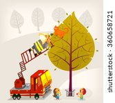 fireman is climbing up the... | Shutterstock .eps vector #360658721