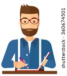 reporter with writing pad. | Shutterstock .eps vector #360674501