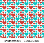 blue and red hearts on a white... | Shutterstock .eps vector #360680501
