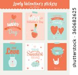collection of 6 valentines day... | Shutterstock .eps vector #360682625