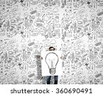 man demonstrating banner with... | Shutterstock . vector #360690491