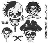 set of vintage skulls pirate   Shutterstock .eps vector #360699869