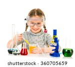 happy little girl with flasks... | Shutterstock . vector #360705659