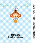 happy halloween monkey greeting ...   Shutterstock .eps vector #360721529