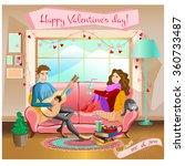 family idyll on sofa in room.... | Shutterstock .eps vector #360733487