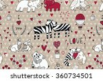 animals in love pattern | Shutterstock .eps vector #360734501