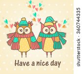 loving couple of owls with a... | Shutterstock .eps vector #360744335
