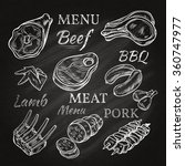 retro meat menu icons on... | Shutterstock .eps vector #360747977
