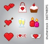 valentine day icons set. pixel... | Shutterstock .eps vector #360748091