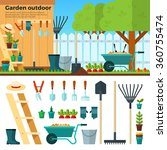 concept of gardening. tools for ... | Shutterstock .eps vector #360755474