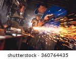 craftsman sawing metal with... | Shutterstock . vector #360764435