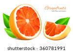 ripe grapefruits with leaves....