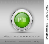 chrome glossy button with green ...