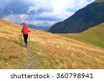 backpacker woman departing on... | Shutterstock . vector #360798941