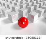 One individuality red sphere on the white backround - 3d rendering - stock photo
