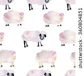 soft sheep and lamb watercolor... | Shutterstock . vector #360804851