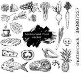 hand drawn restaurant food... | Shutterstock .eps vector #360807227