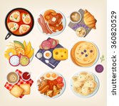 traditional breakfast dishes... | Shutterstock .eps vector #360820529