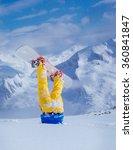 legs of a snowboarder stuck in...   Shutterstock . vector #360841847