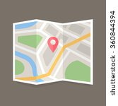 folded map with location marker.... | Shutterstock .eps vector #360844394