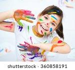 cute girl showing her hands... | Shutterstock . vector #360858191