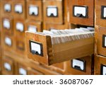old wooden card catalog with... | Shutterstock . vector #36087067