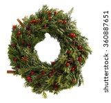 christmas wreath on a white... | Shutterstock . vector #360887651