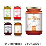 glass jar with with jam ... | Shutterstock .eps vector #360910094