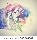 Watercolor Painting Of Lion....