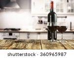 dark wine bottle and kitchen... | Shutterstock . vector #360965987