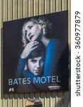 Small photo of LOS ANGELES, USA - SEP 27, 2015: Bates Motel TV show poster at the Universal Studios Hollywood Park. Psycho is a 1960 American horror-slasher film by Alfred Hitchcock starring Anthony Perkins