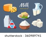 milk products icons in cartoon... | Shutterstock .eps vector #360989741