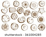 set hand drawn cookies on white ... | Shutterstock .eps vector #361004285