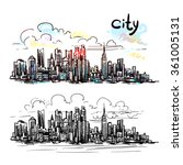 hand drawn new york sketch for... | Shutterstock .eps vector #361005131