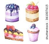 set of watercolor hand painted... | Shutterstock . vector #361007615