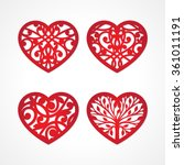 set of laser cut heart labels.... | Shutterstock .eps vector #361011191