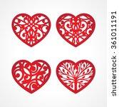 set of laser cut heart labels.... | Shutterstock .eps vector #361011191