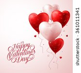 3d realistic red heart balloons ... | Shutterstock .eps vector #361011341