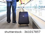 traveler with a bag on the... | Shutterstock . vector #361017857