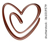 Chocolate Sauce Heart On White...
