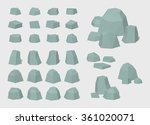 rocks and stones. 3d lowpoly... | Shutterstock .eps vector #361020071