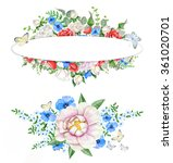 watercolor floral wreath and... | Shutterstock . vector #361020701