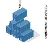 pyramid of sea containers. the... | Shutterstock .eps vector #361041317