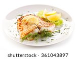 fish dish   fried fish fillet... | Shutterstock . vector #361043897